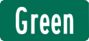 Green street name sign with White Letters