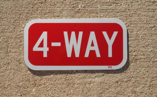 """Our 12""""x6"""" Reflective 4-Way stop sign."""