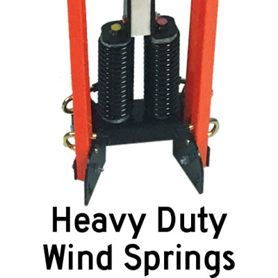 Heavy duty windsprings on RU5000 sign stand.