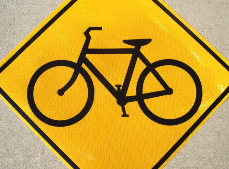 Up-close picture of our Bicycle Symbol Sign