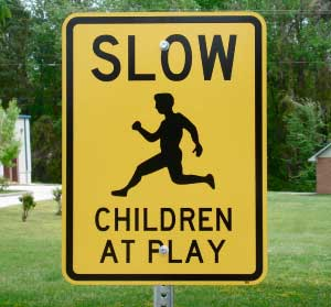 Picture of our Slow Children at Play road sign