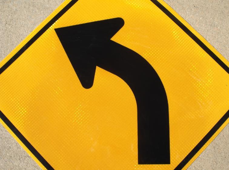 "Picture of our 30""x30"" HIP Reflective Curve Left road sign"