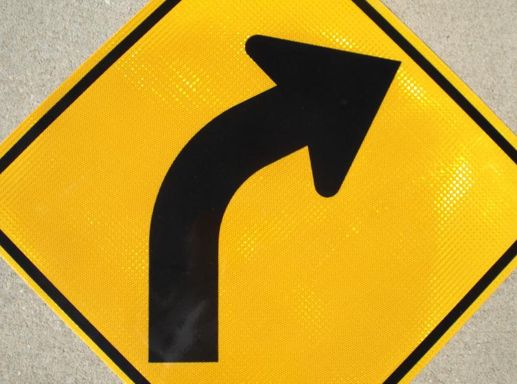 """Picture of our 30""""x30"""" HIP Reflective Curve Right road sign"""