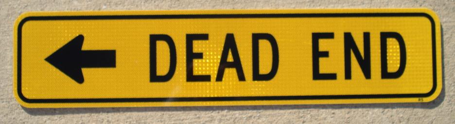 Picture of our rectangular Dead End street sign with an arrow. This style sign is typically used near a street name sign to indicate that the road is not a through street.