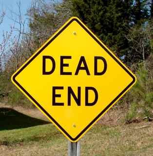 """Picture of our 24""""x24"""" Dead End road sign mounted onto a u-channel sign post (post sold separately)"""