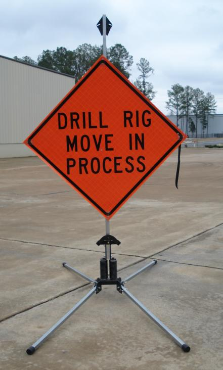 36 Inch Drill Rig Move In Process Reflective Roll up Sign