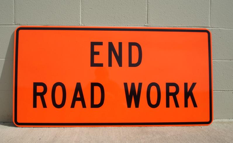 "Our 48""x24"" End Road Work sign on prismatic reflective aluminum."