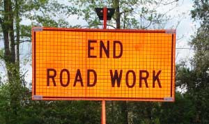 End Road Work roll-up sign with optional sign stand.