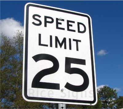 Picture of a speed limit 25 sign