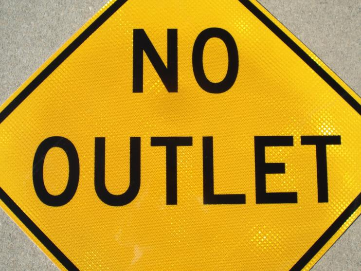 "Up-close photo of our 30""x30"" No Outlet road sign with HIP Retroreflective Sheeting."