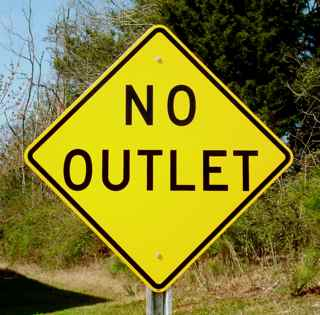 Our No Outlet sign pictured on an optional galvanized steel u-channel sign post.