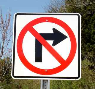 No Right Turn Signs