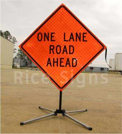 One Lane Road Ahead roll-up sign shown with RU3000 sign stand (sold separately).