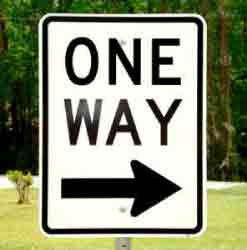 One Way Right street sign shown on square highway post (sold separately).