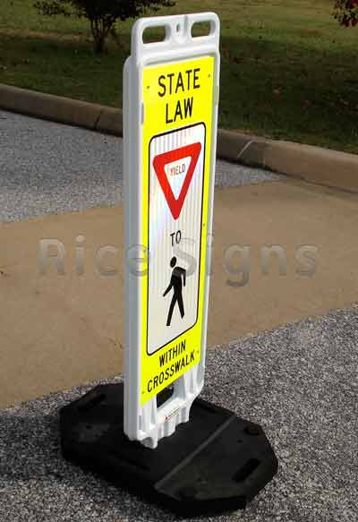 Angled picture of our Pedestrian Crossing Sign