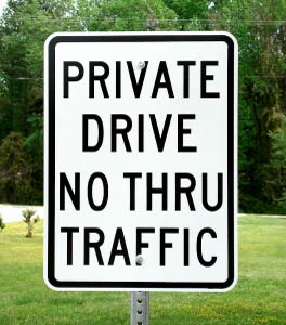 "Our 18""x24"" Private Drive No Thru Traffic sign shown on optional sign post."