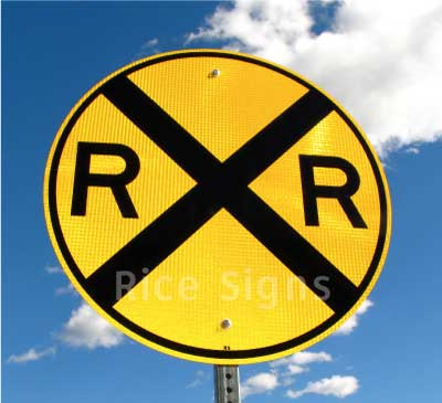 A picture of our railroad advance warning highway sign.