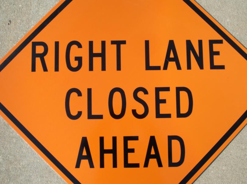 Up-close photo of our Right Lane Closed Ahead contruction sign