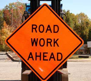 """A photo of our 48""""x48"""" Road Work Ahead sign"""