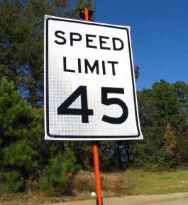 Our Roll-Up Speed Limit Sign is made of Reflective White Roll-Up Vinyl for ultimate portability, while maintaining exceptional visibility at night-time.  The Roll-Up Speed Limit Sign features heavy duty plastic corners and thick fiberglass ribs on the back.  It is compatible with our RU5000 and RU6000 Sign Stands..