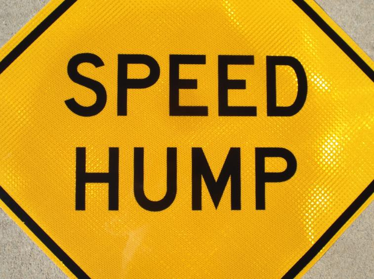 Up-close photo of our Speed Hump street sign.