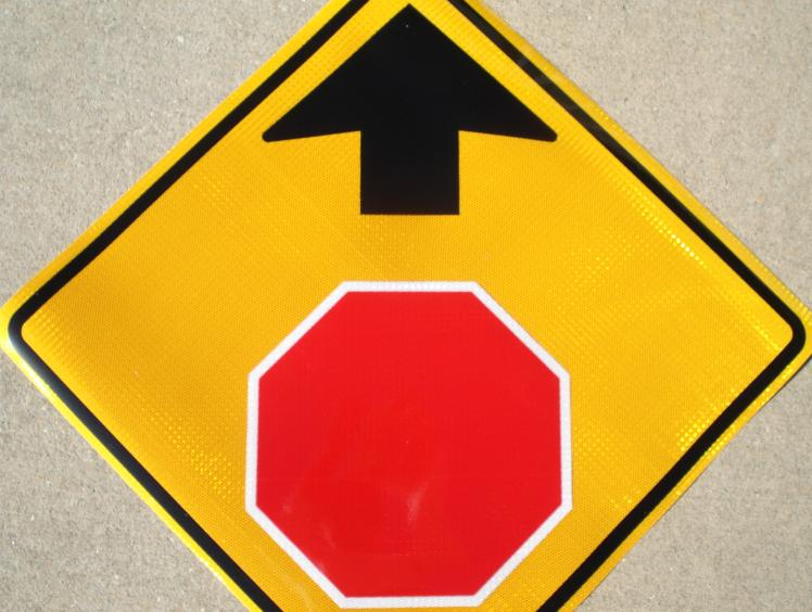 Detailed picture of our Stop Ahead (symbol) traffic sign.