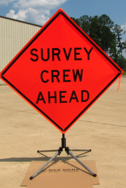 "48""x48"" Non-Reflective Vinyl Survey Crew Ahead roll-up sign with optional RU4000 single spring folding roll-up sign stand."