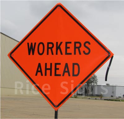"A picture of our 36""x36"" Workers Ahead Roll-up Sign"