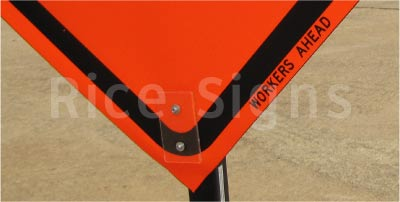 Sign Legend Printed on Workers Ahead Roll-up Signs