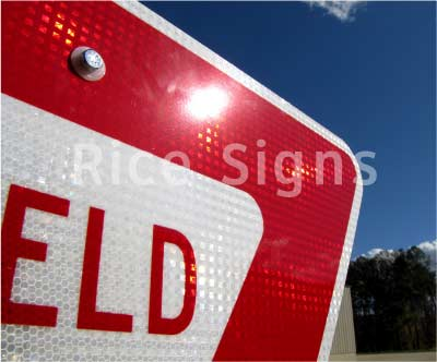 Up-close photo of our retroreflective yield traffic sign.