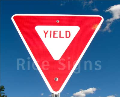 "A picture of our 30"" Yield sign with high intensity reflecive."
