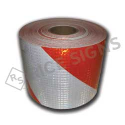 "7.75""x100 Yard Orange and White High Intensity Prismatic Barricade Sheeting"