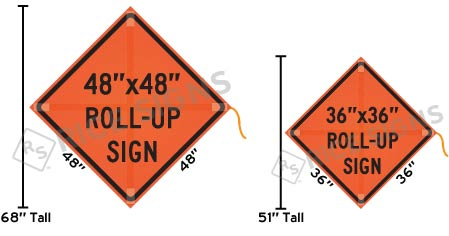 How to measure a roll-up sign.
