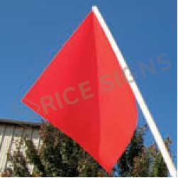 "18""x18"" Warning Flag with 36"" Wooden Staff"