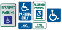 Reserved handicap parking and accessible parking signs.