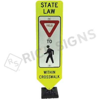 Bolt Down In Street Yield To Pedestrian Within Crosswalk Sign