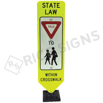 Bolt Down In Street Yield To Children Within Crosswalk Sign