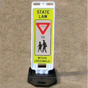 Portable In Street Yield To Children Within Crosswalk Sign