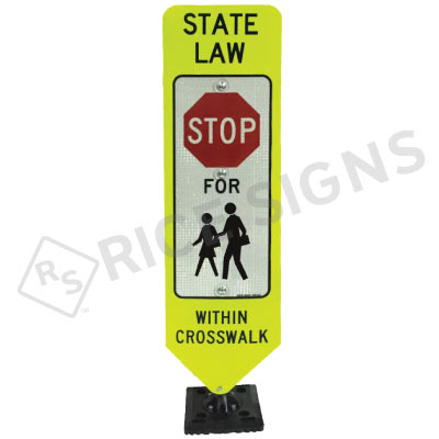 Bolt Down In Street Stop For Children Within Crosswalk Sign