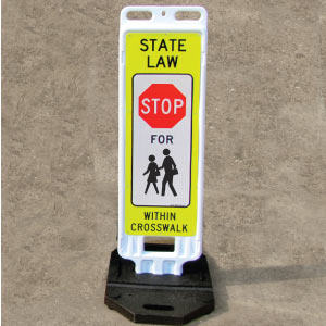 Portable In Street Stop For Children Within Crosswalk Sign