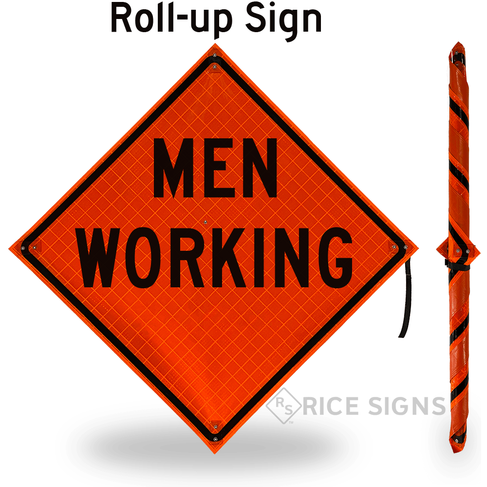 Men Working (words) Roll-up Sign