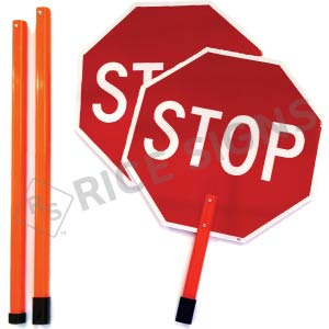 Stop/Stop Paddle with (3) Piece Breakdown 6 Foot ABS Plastic Staff Signs
