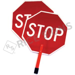 "Stop/Stop Paddle with 15"" Handheld ABS Plastic Staff Signs"