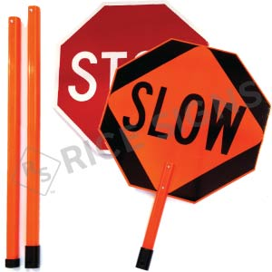 Stop/Slow Paddle with (3) Piece Breakdown 6 Foot ABS Plastic Staff Signs