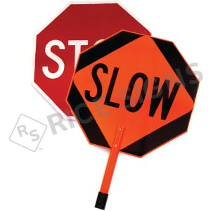 "Stop/Slow Paddle with 15"" Handheld ABS Plastic Staff Signs"