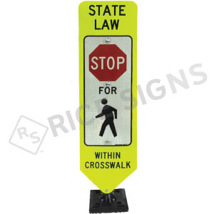 Bolt Down In Street Stop For Pedestrian Within Crosswalk Sign