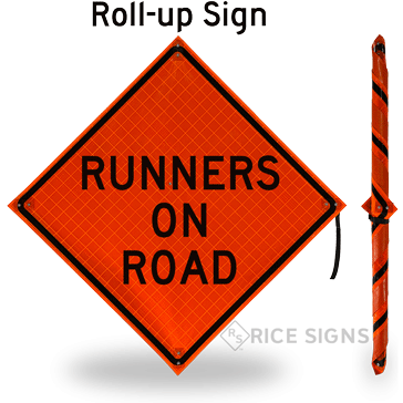 Runners on Road Roll-Up Signs