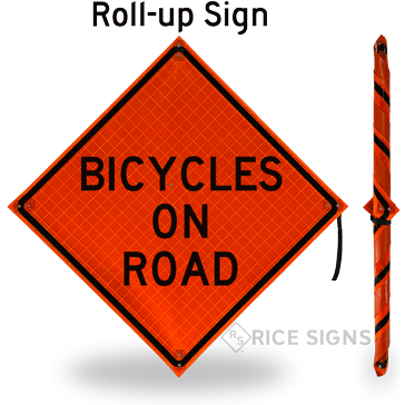 Bicycles on Road Roll-Up Signs