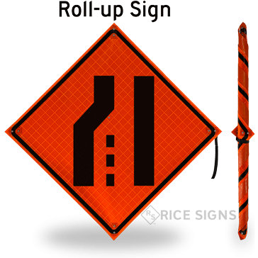 Left Lane Ends (symbol) Roll-Up Signs