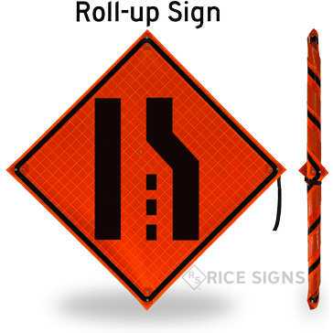 Right Lane Ends (symbol) Roll-Up Signs